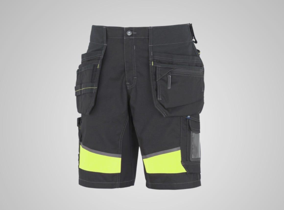 Hantverksshorts synbarhet stretchpanel svart/gul