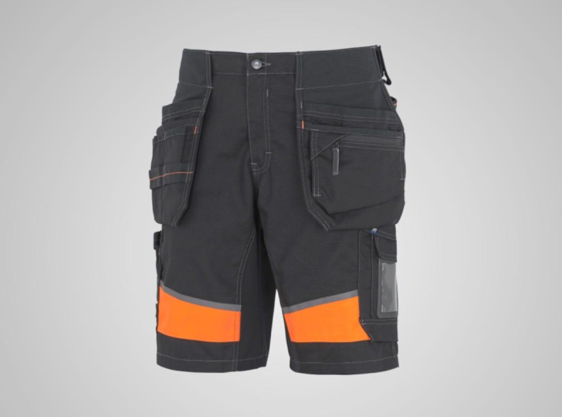 Hantverksshorts synbarhet stretchpanel svart/orange